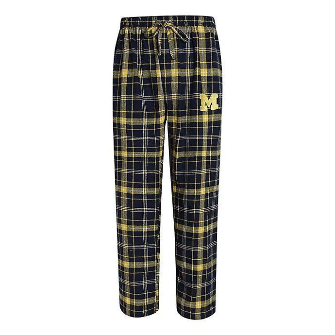 Alternate image 1 for University of Michigan Men's Flannel Plaid Pajama Pant with Left Leg Team Logo