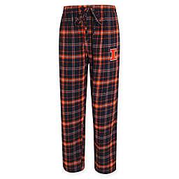 University of Illinois Men's Small Flannel Plaid Pajama Pant with Left Leg Team Logo