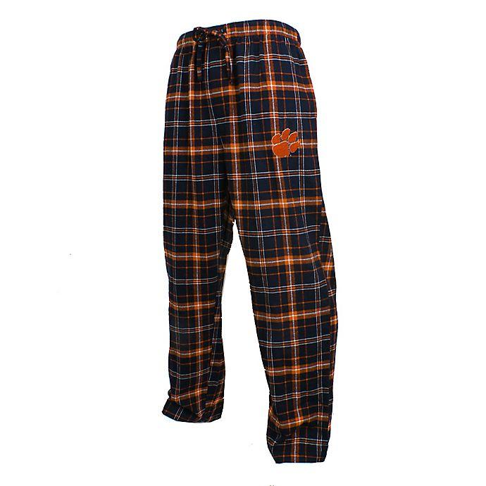 Alternate image 1 for Clemson University Men's Flannel Plaid Pajama Pant with Left Leg Team Logo