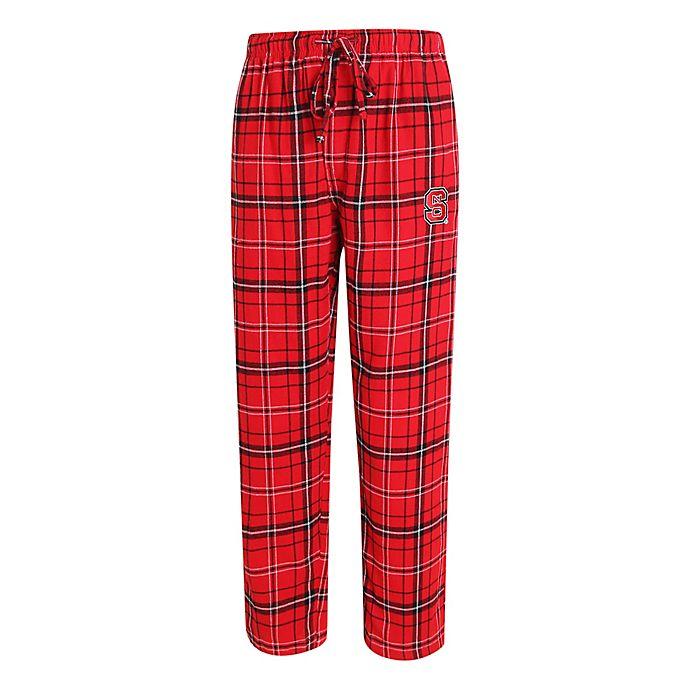 Alternate image 1 for North Carolina State University Men's Small Flannel Plaid Pajama Pant with Left Leg Team Logo
