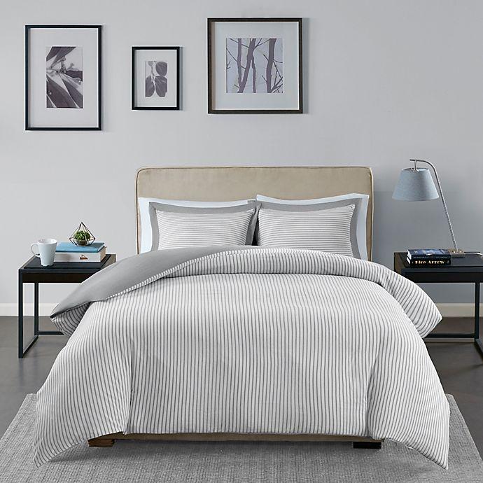 Alternate image 1 for Madison Park Essentials Hayden 2-Piece Reversible Twin Duvet Cover Set in Grey