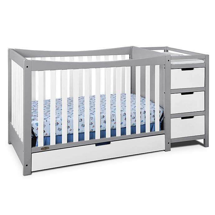 Alternate image 1 for Graco® Remi 4-in-1 Convertible Crib and Changer in Grey/White