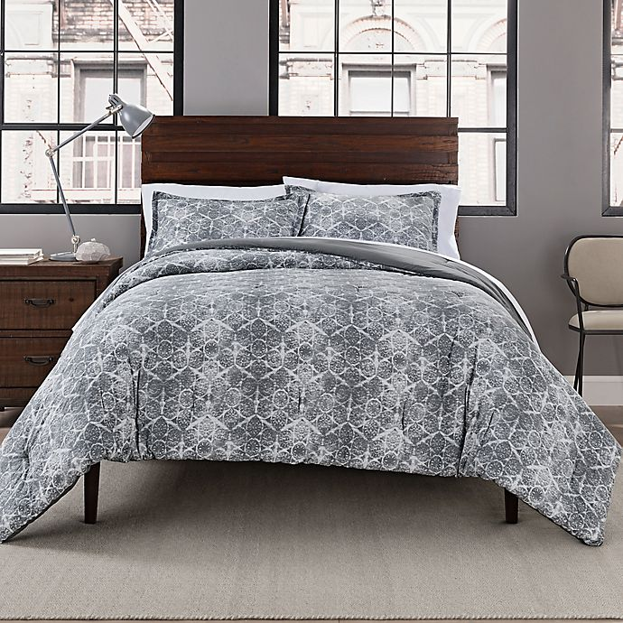 Alternate image 1 for Garment Washed Printed 3-Piece Full/Queen Comforter Set in Grey Medallion