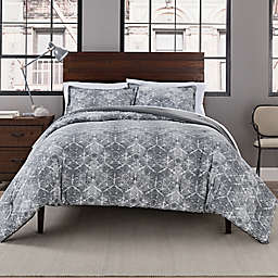 Garment Washed Printed 3-Piece Full/Queen Comforter Set in Grey Medallion