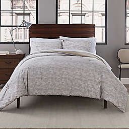 Garment Washed Printed 3-Piece King Comforter Set in Taupe Dot