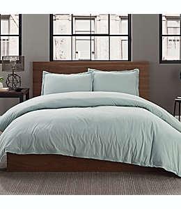 Funda para edredón individual de algodón percal Keeco color gris verdoso
