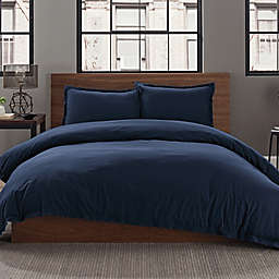 Keeco Garment Washed Solid 2-Piece Twin/Twin XL Duvet Cover Set in Navy