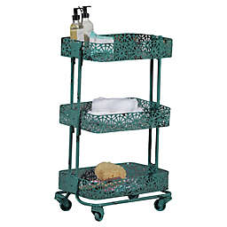 Linon Home Pierced Metal 3-Tier Cart