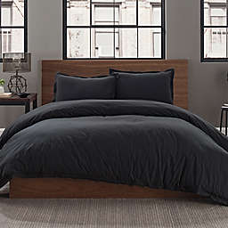 Garment Washed Solid King Duvet Cover Set in Onyx