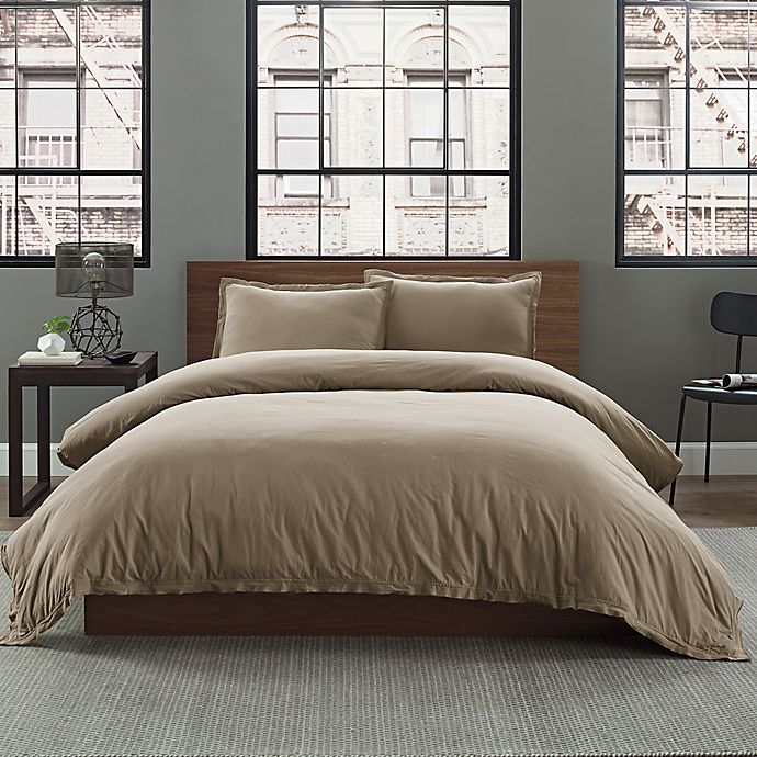 Alternate image 1 for Garment Washed Solid Full/Queen Duvet Cover Set in Taupe