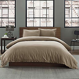Garment Washed Solid Full/Queen Duvet Cover Set in Taupe