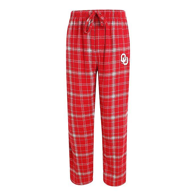 Alternate image 1 for University of Oklahoma Men's Flannel Plaid Pajama Pant with Left Leg Team Logo