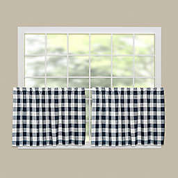 Heritage Lace® Buffalo Check 30-Inch Kitchen Window Curtain Tier in Navy