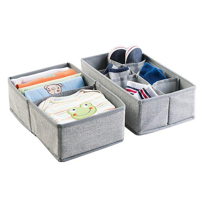 Alternate image 1 for iDesign® Aldo Fabric Dresser Drawer Organizers in Grey (Set of 2)