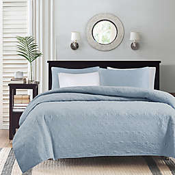 Madison Park Quebec 2-Piece Reversible Twin/Twin XL Coverlet Set in Blue
