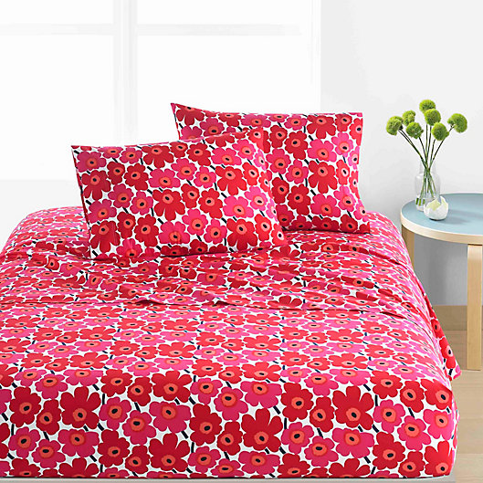 Alternate image 1 for marimekko® Unikko Sheet Set in Red