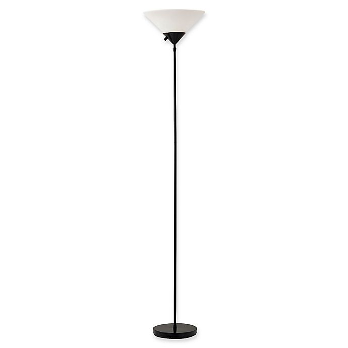 Alternate image 1 for Adesso® Pisces 2-Light Floor Lamp in Matte Black with Frosted Plastic Shade