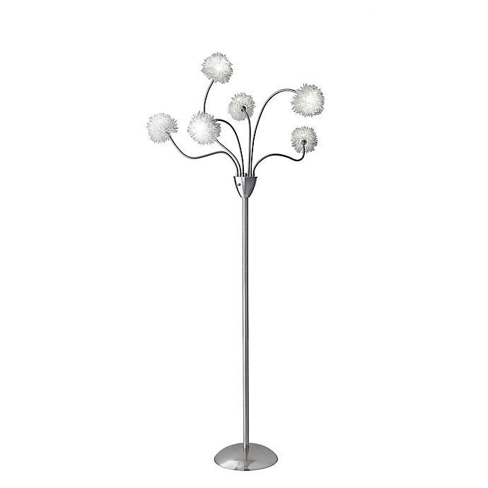 Alternate image 1 for Adesso® Pom Pom 6-Light LED Floor Lamp in Satin Steel with Aluminum Shades