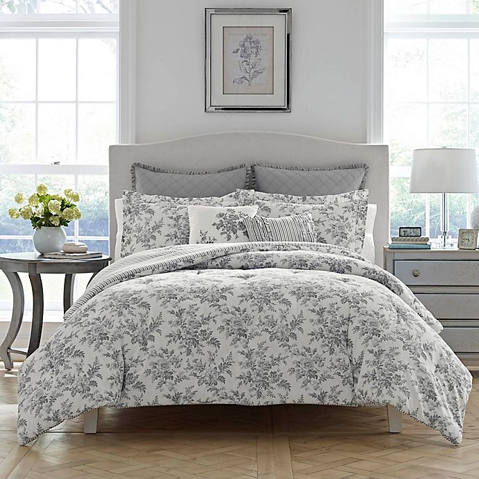 Alternate image 1 for Laura Ashley® Annalise Reversible Comforter Set in Grey