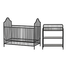Little Seeds Rowan Valley Lanley 2-Piece Metal Crib and Changing Table Set in Black
