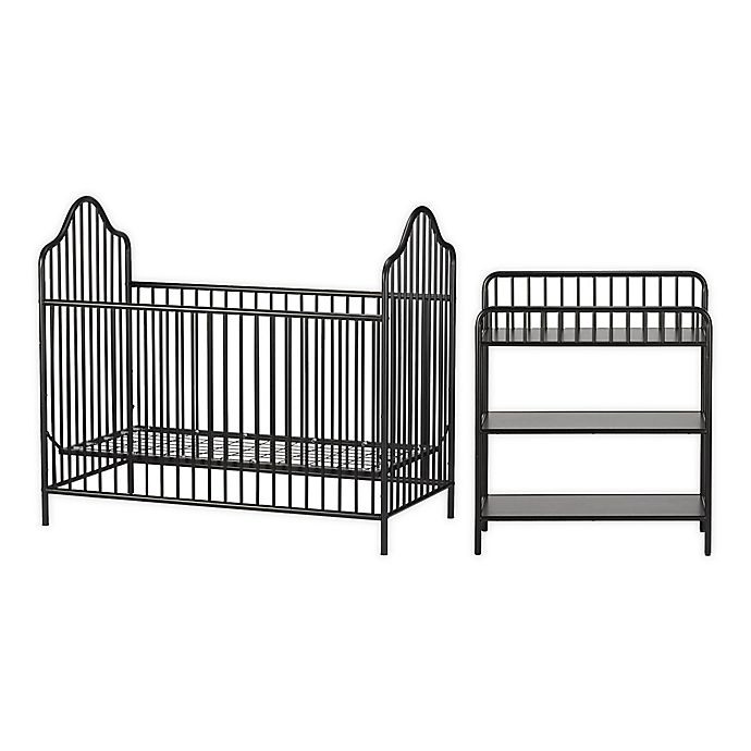 Alternate image 1 for Little Seeds Rowan Valley Lanley 2-Piece Metal Crib and Changing Table Set in Black
