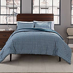 Garment Washed Printed 3-Piece Full/Queen Comforter Set in Peacock Basketweave