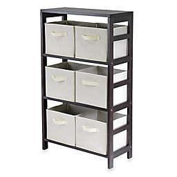 Capri 3-Tier Shelf with 6 Foldable Baskets in Beige