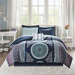 Intelligent Design Loretta 9-Piece Queen Comforter Set in Navy