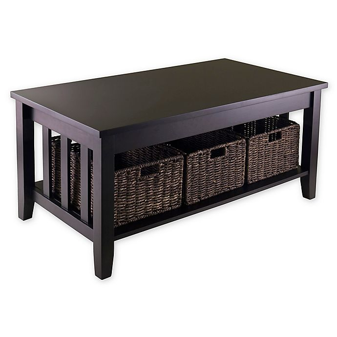 Alternate image 1 for Winsome Trading Morris Coffee Table with Baskets in Dark Espresso