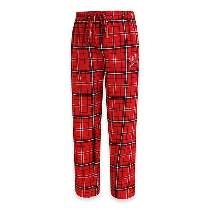 Alternate image 1 for University of Wisconsin Men's Large Flannel Plaid Pajama Pant with Left Leg Team Logo