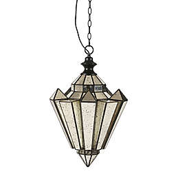 Hampton Hill Estela 1-Light Pendant in Black with Mercury Glass Shade