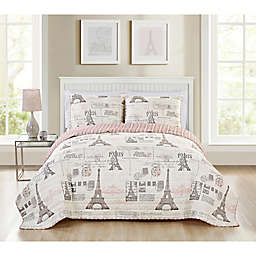 VCNY Home Carte Postale 3-Piece Reversible Queen Quilt Set in Grey