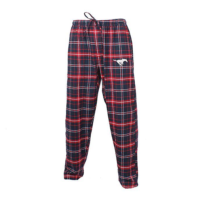 Alternate image 1 for Southern Methodist University Men's Flannel Plaid Pajama Pant with Left Leg Team Logo