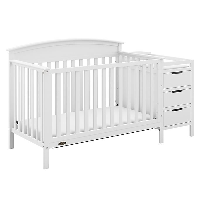 Alternate image 1 for Graco® Benton 4-in-1 Convertible Crib and Changer in White