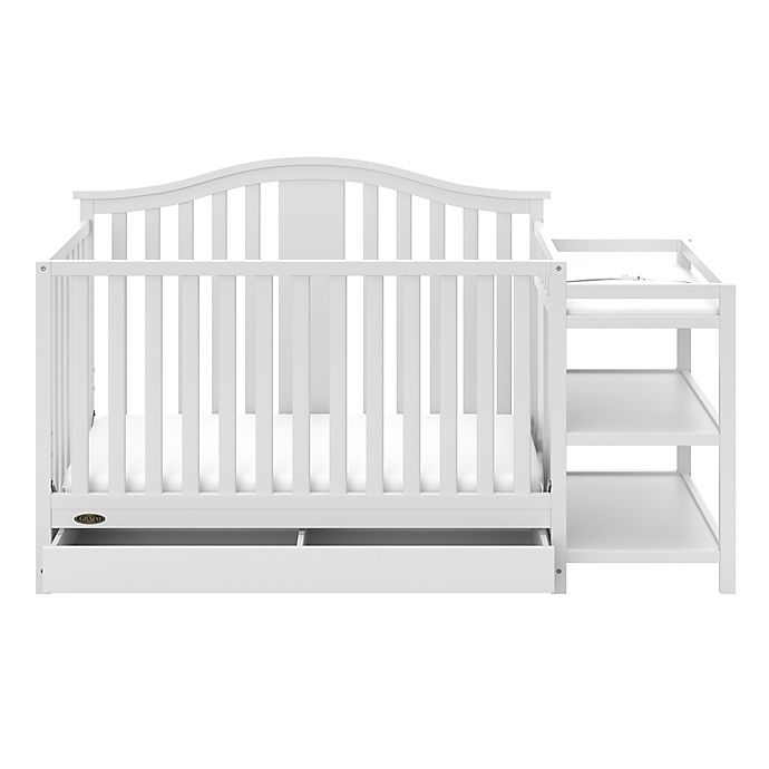 Alternate image 1 for Graco® Solano 4-in-1 Convertible Crib and Changer in White