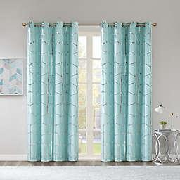 Intelligent Design Raina 84-Inch Grommet 100% Blackout Window Curtain Panel in Aqua (Single)