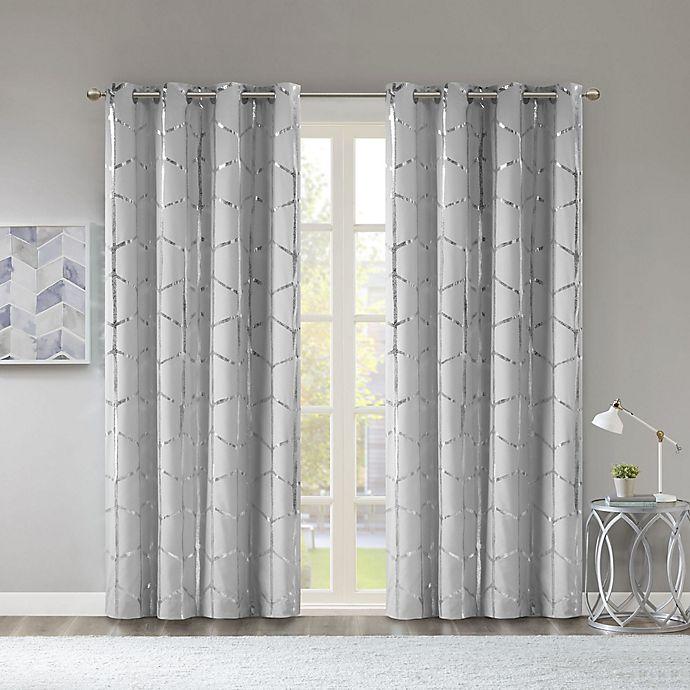 Alternate image 1 for Intelligent Design Raina 84-Inch Grommet 100% Blackout Window Curtain Panel in Grey (Single)