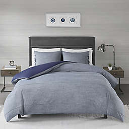 Madison Park Raven King/California King Duvet Cover Set in Denim Blue