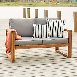 Forest Gate Otto Acacia Wood Patio Loveseat with Cushions in Brown