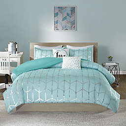 Intelligent Design Raina 4-Piece Twin/Twin XL Duvet Cover Set in Aqua/Silver