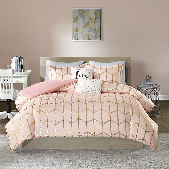 Alternate image 1 for Intelligent Design Raina 4-Piece Twin/Twin XL Duvet Cover Set in Blush/Gold