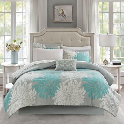 Circle Aqua//Gray Madison Park Essentials MPE10-158 Knowles Complete Bed and Sheet Set Twin 68x86