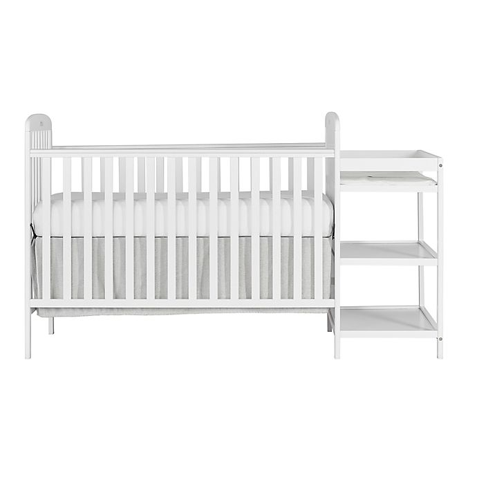 Alternate image 1 for Dream On Me Anna 4-in-1 Convertible Crib and Changing Table Combo in White