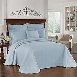 Historic Charleston Collection King Charles Matelasse King Bedspread in Blue