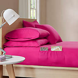 Intelligent Design Microfiber Pocket Twin XL Solid Sheet Set in Pink