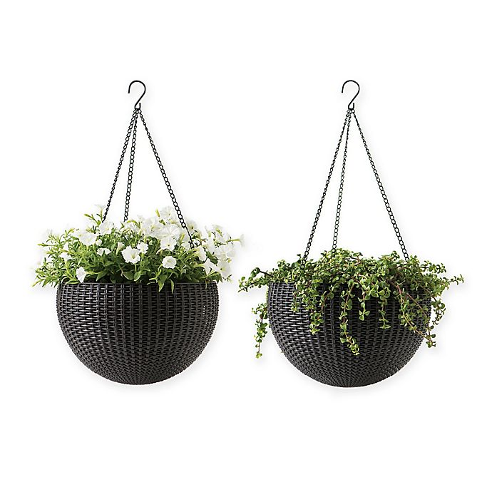Alternate image 1 for Keter Indoor/Outdoor Hanging Rattan Planters in Anthracite (Set of 2)