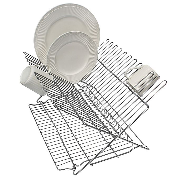 Alternate image 1 for Better Houseware Metallic Folding Dish Rack in Silver