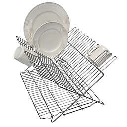 Better Houseware Metallic Folding Dish Rack in Silver