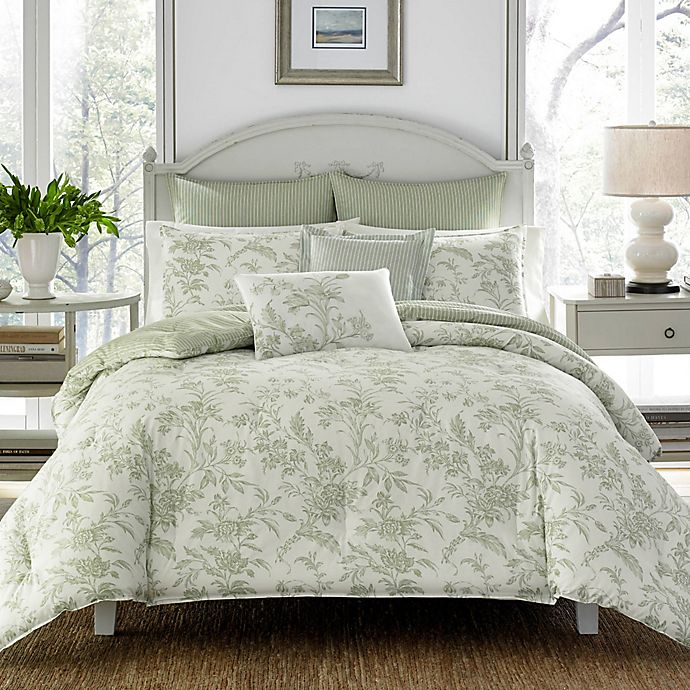 Alternate image 1 for Laura Ashley® Natalie 2-Piece Reversible Twin Duvet Cover Set in Sage
