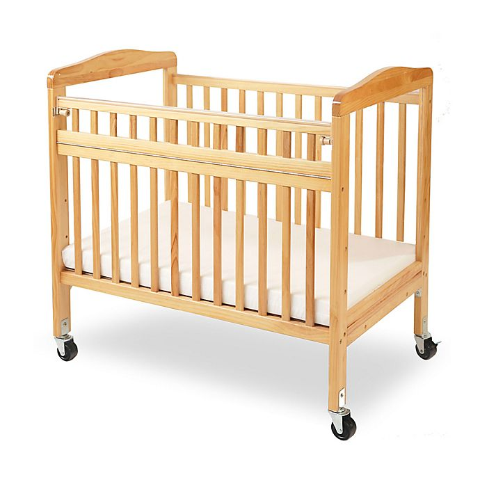 Alternate image 1 for LA Baby® Mini Portable Crib with Clear Panels and Safety Gate in Natural
